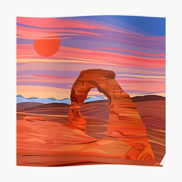 Arches National Park Digital Painting Poster