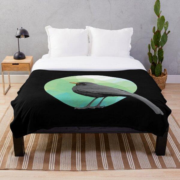 Blackbird - Small Bird in Tree - Bird artwork Throw Blanket