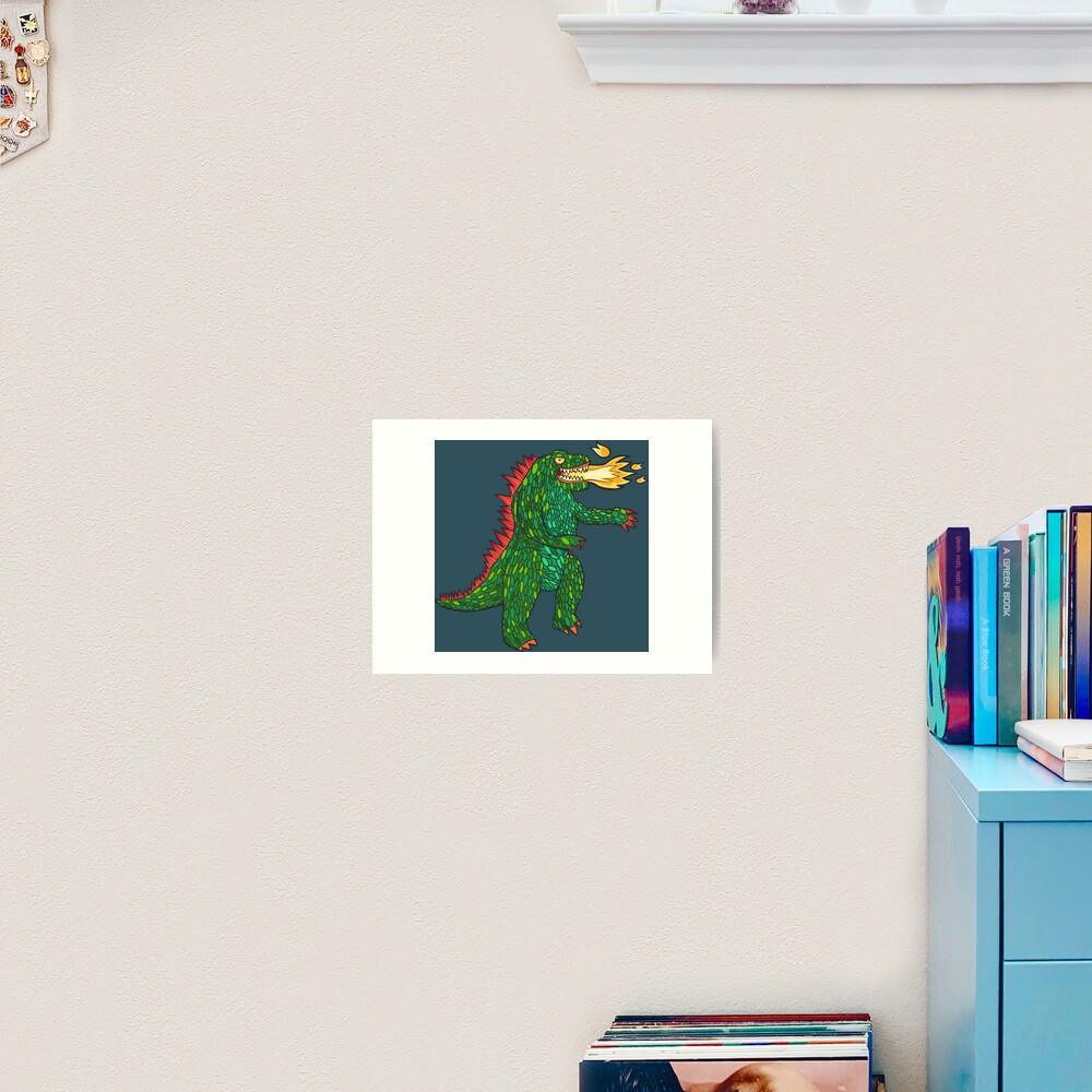 Green Dragon with big flame Art Print