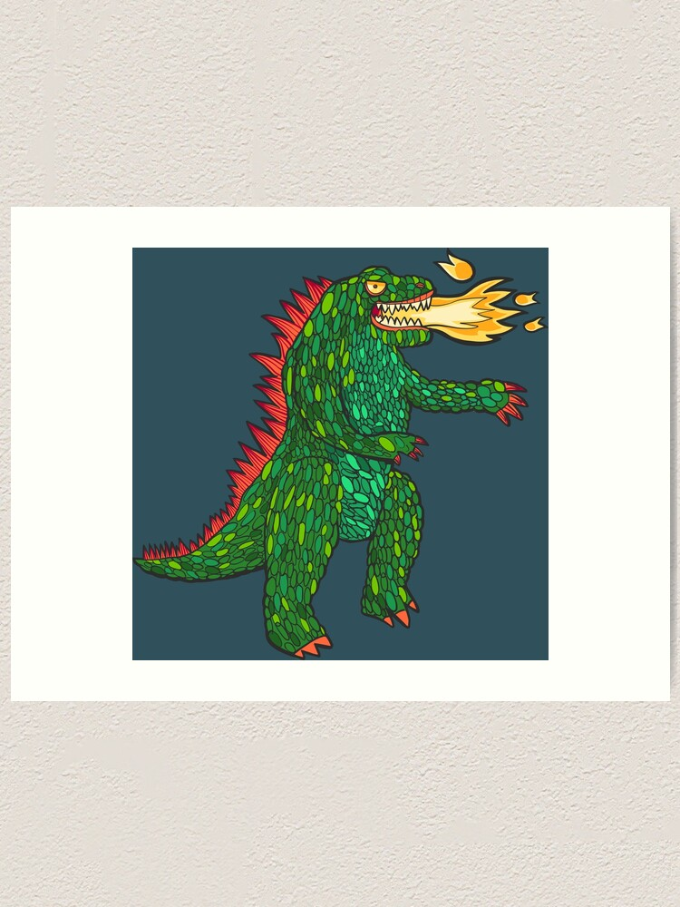 Alternate view of Green Dragon with big flame Art Print