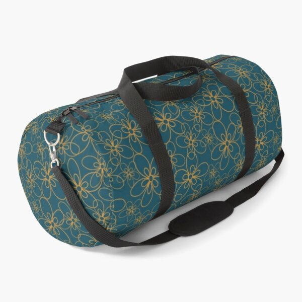 Petrol Blue and Yellow Flower Pattern Duffle Bag