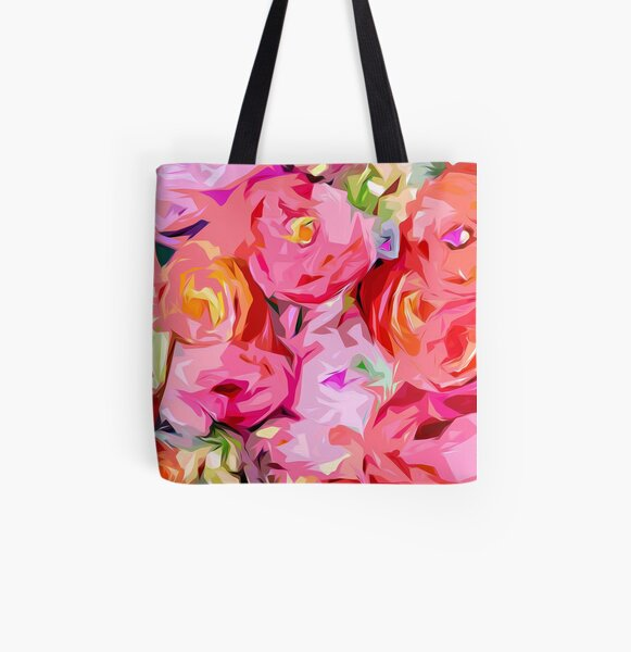 Rose Bouquet in Abstract All Over Print Tote Bag