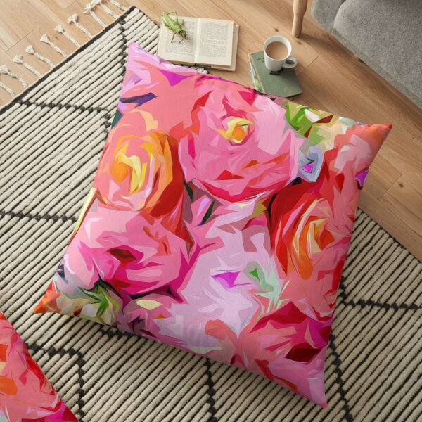 Rose Bouquet in Abstract Floor Pillow