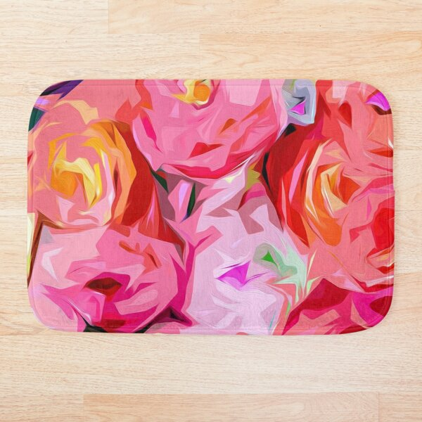 Rose Bouquet in Abstract Bath Mat