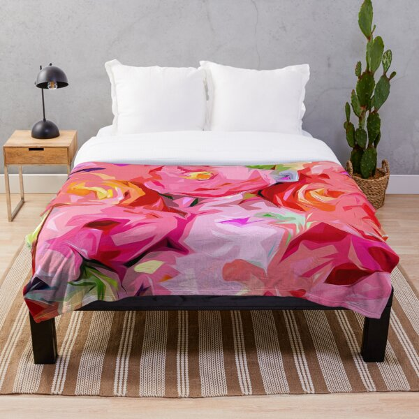 Rose Bouquet in Abstract Throw Blanket