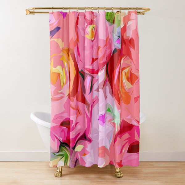 Rose Bouquet in Abstract Shower Curtain
