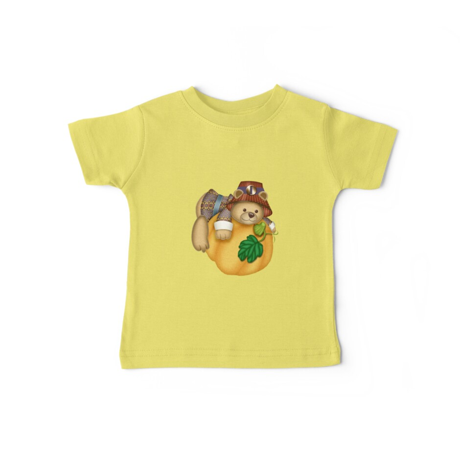 Teddy on a Pumpkin Kids Clothing and Stickers by Vickie Emms