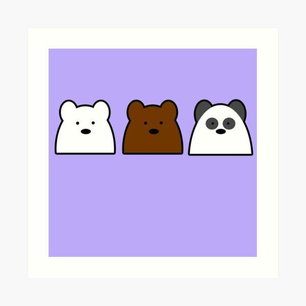 Ice Bear, Grizz and Panda Simplistic  Art Print