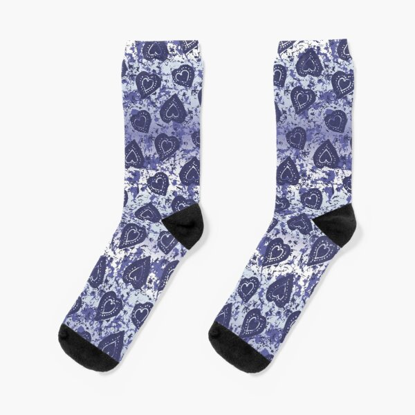 Indigo Batik Hearts Socks