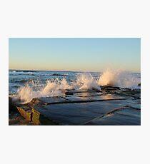 crashing waves at Bar beach Newcastle  Photographic Print