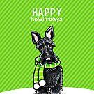 Scottie Winter Scarf Happy Howl-i-days by offleashart