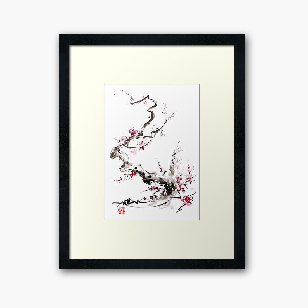 Sakura cherry blossom pink and red flowers tree watercolor original ink painting Framed Art Print