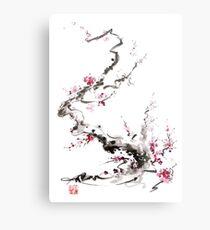 Sakura cherry blossom pink and red flowers tree watercolor original ink painting Metal Print