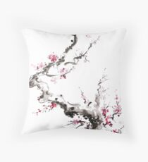 Sakura cherry blossom pink and red flowers tree watercolor original ink painting Throw Pillow