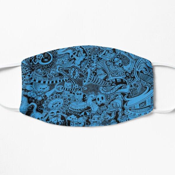Black & Blue Doodles Flat Mask
