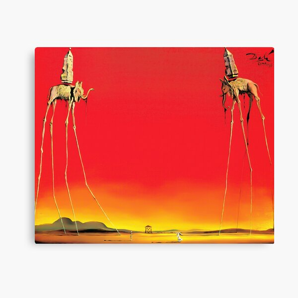 Salvador Dali The Elephants (Les Éléphants) 1948 Artwork for Wall Art, Prints, Posters, Tshirts, Men, Women, Kids Canvas Print