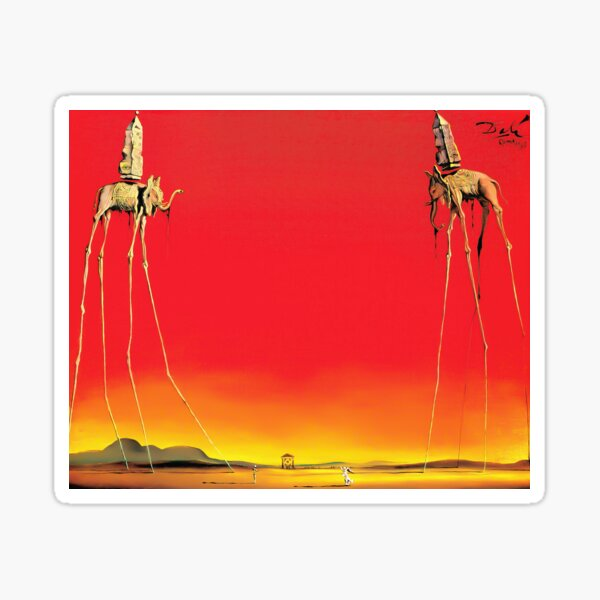Salvador Dali The Elephants (Les Éléphants) 1948 Artwork for Wall Art, Prints, Posters, Tshirts, Men, Women, Kids Sticker
