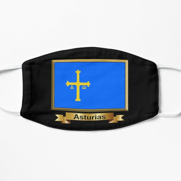 Regalos, pegatinas y productos de la bandera de Asturias (N) Mascarilla plana