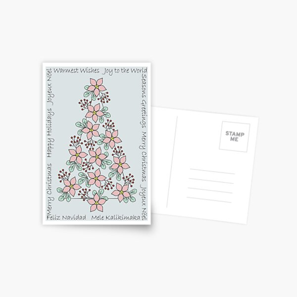 Country Poinsettia Tree Holiday Postcard
