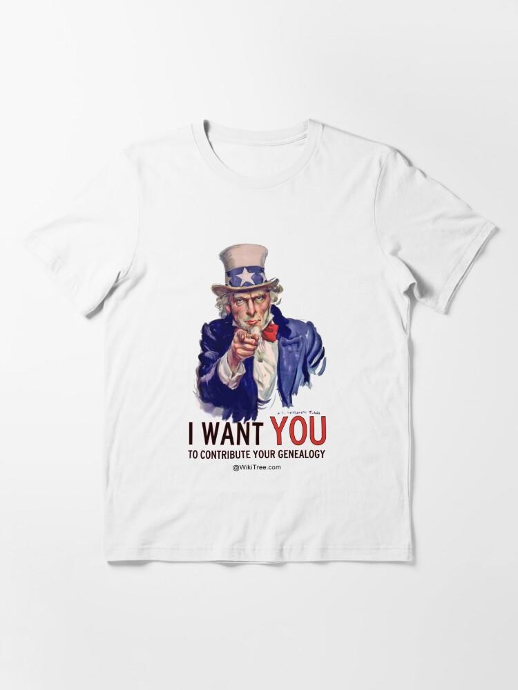 Alternative Ansicht von Ich möchte, dass SIE Ihre Genealogie beitragen ... @ wikitree.com Essential T-Shirt