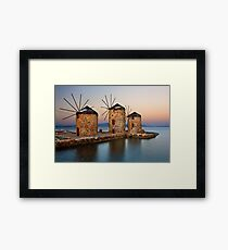 Old windmills of Chios island Framed Print
