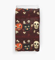 Halloween pumpkin cat skull vintage Duvet Cover
