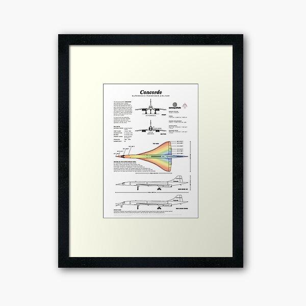 Concorde Supersonic Airliner Blueprint (white) Framed Art Print