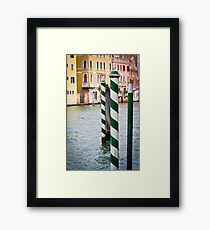 Green and Blue poles in Venice Framed Print