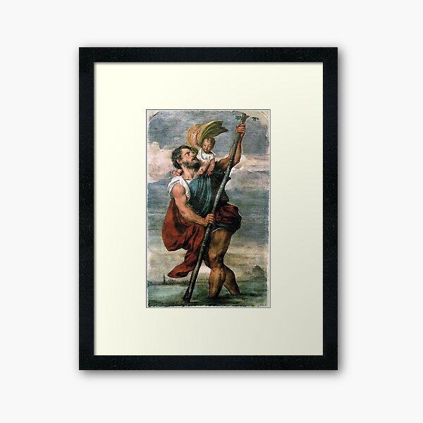 Saint Christopher carrying the Christ Child Fresco Framed Art Print
