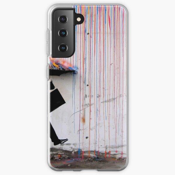 Banksy Umbrella Rainbow Happy Girl Samsung Galaxy Soft Case