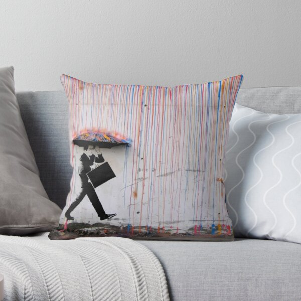 Banksy Parapluie Rainbow Happy Girl Coussin