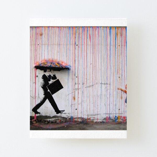 Banksy Parapluie Rainbow Happy Girl Impression montée sur toile
