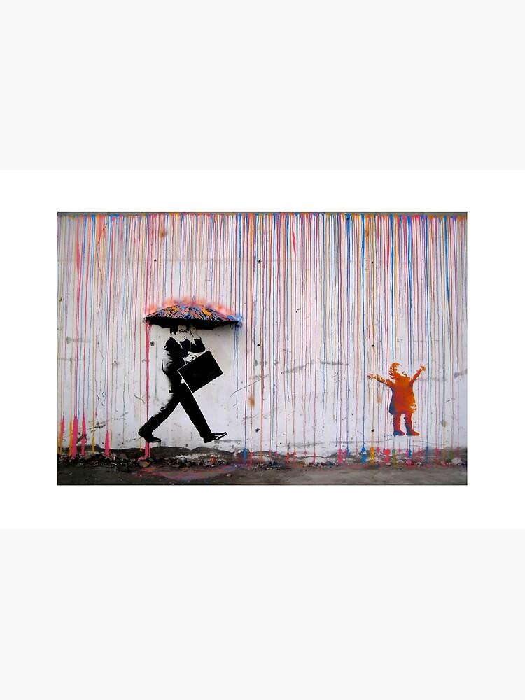 Banksy Umbrella Rainbow Happy Girl by bufumofo