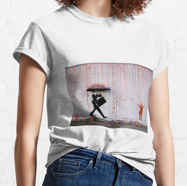 Banksy Umbrella Rainbow Happy Girl Classic T-Shirt