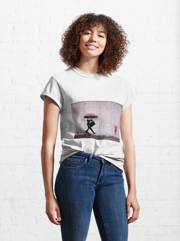 Alternate view of Banksy Umbrella Rainbow Happy Girl Classic T-Shirt