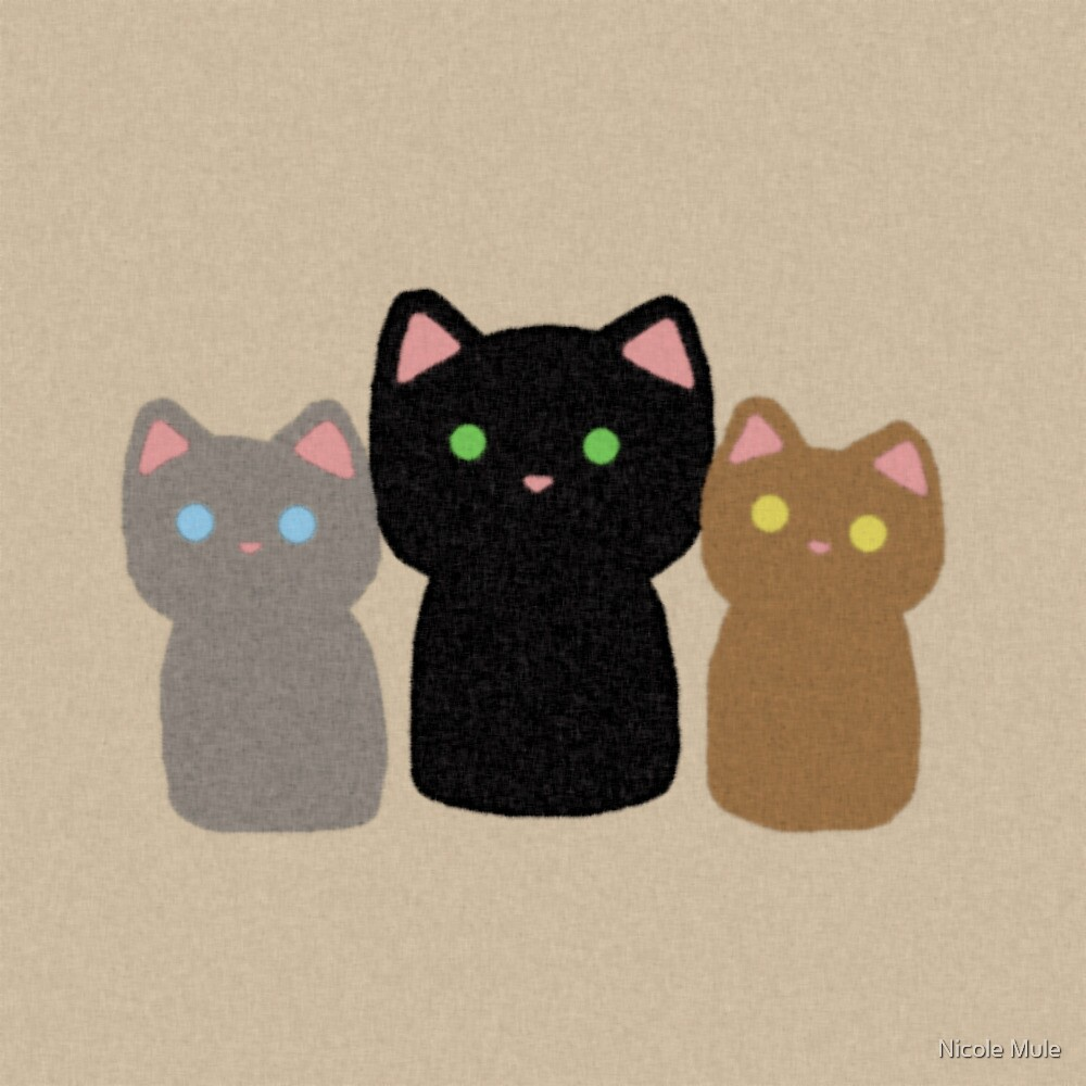 Three Curious Kittens by Nicole Mule'