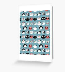 pattern amusing portraits of cats Greeting Card