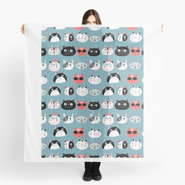 pattern amusing portraits of cats Scarf
