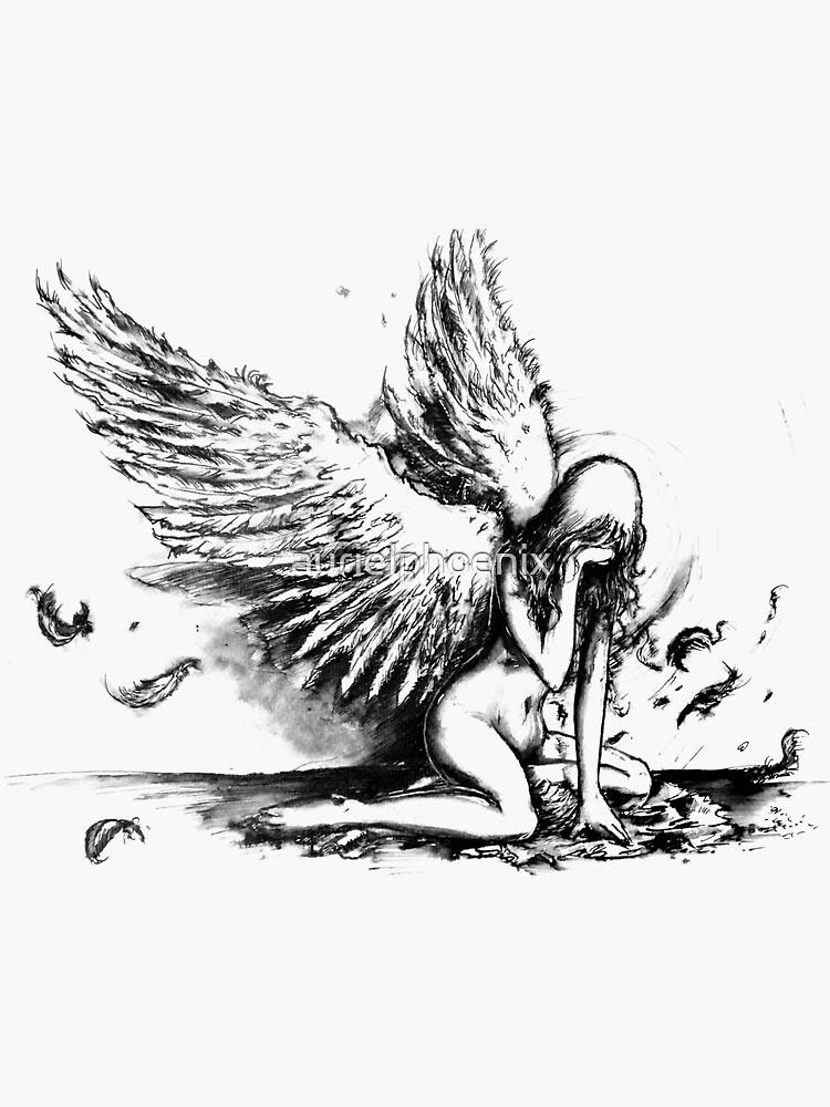 Crying Fallen Angel Drawing by aurielphoenix