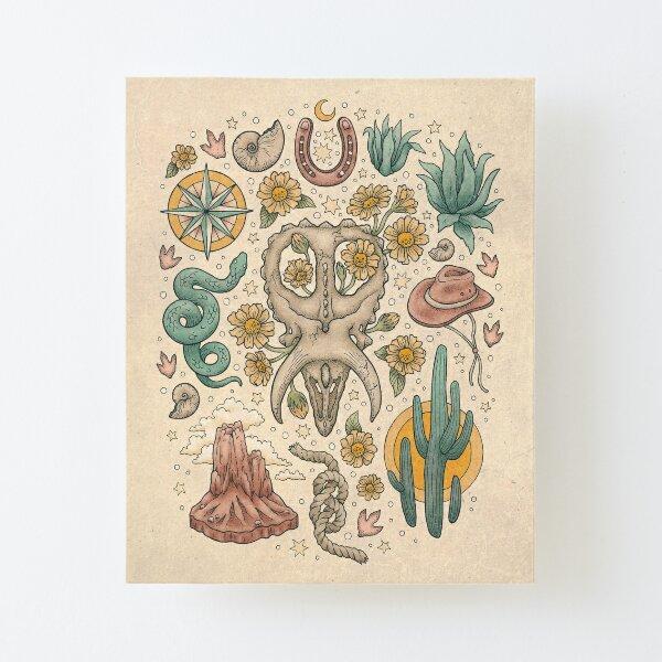 The Desert Sunflowers | Dinosaur Southwest Adventure Art | Natural History Explorer Canvas Mounted Print