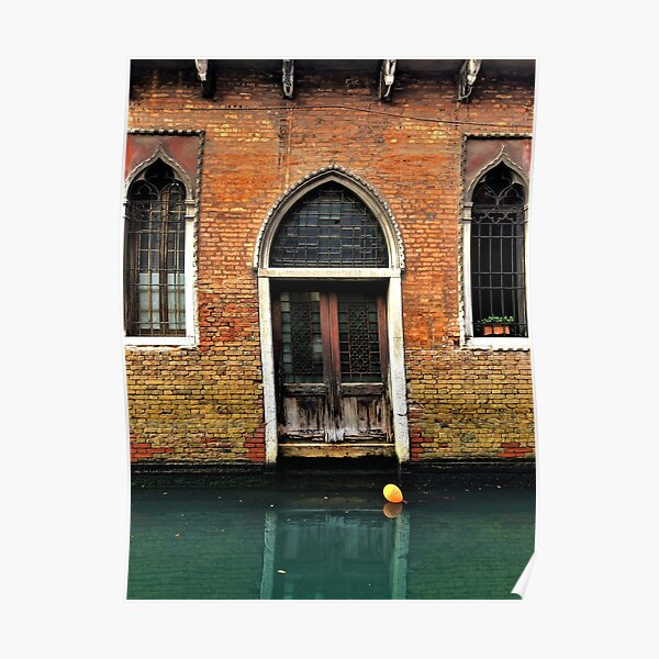 House entrance in Venice with balloon floating on water Poster