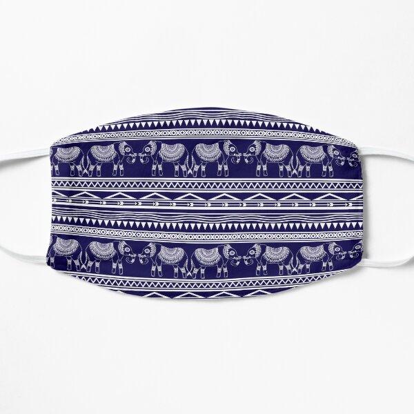 White and Navy Blue Elephant Pattern Mask