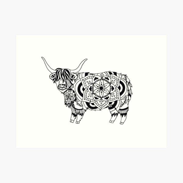 Highland Cow Mandala Art Print