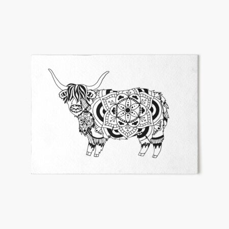 Highland Cow Mandala Art Board Print