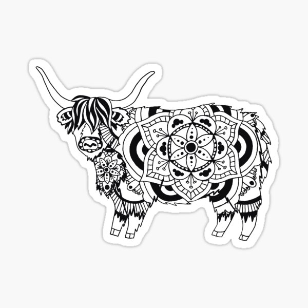 Highland Cow Mandala Sticker
