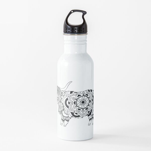 Highland Cow Mandala Water Bottle