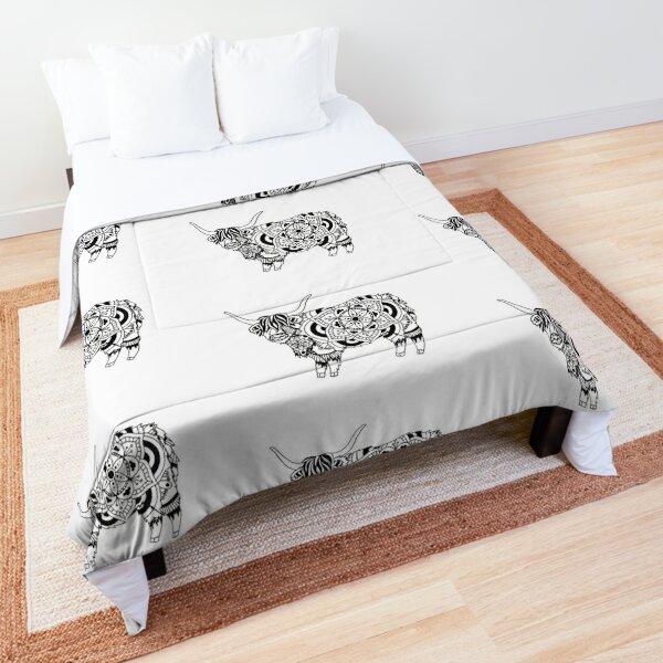 Highland Cow Mandala Comforter