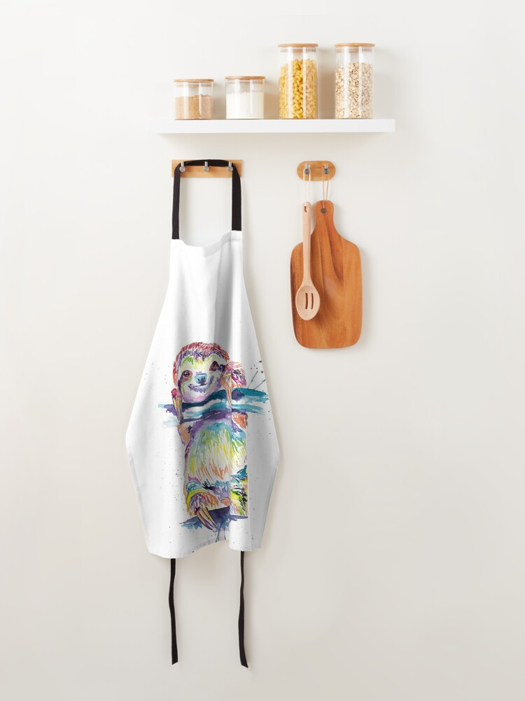 Alternate view of Colorful Sloth Art Print, Sloth Art, Sloth Watercolor, Watercolor Sloth, Sloth Love, Sloth Gift Apron