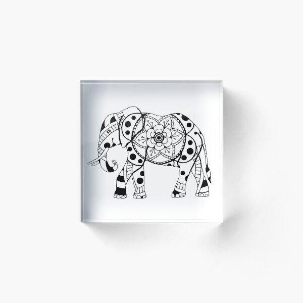 Elephant Mandala Acrylic Block
