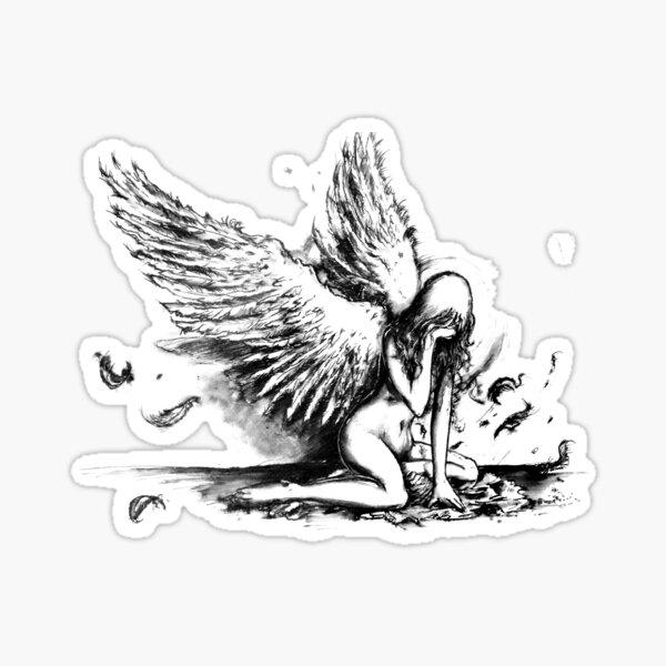 Crying Fallen Angel Drawing Sticker